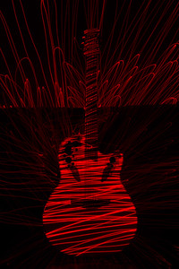 Guitar in Red Laser Light