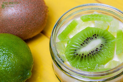 Lime and Kiwi fruit sweet dessert. High vitamin C food.