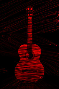 Classical Guitar in Red Laser Light