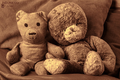 Grandparents vintage teddy bear lovers. Old-aged toy married couple.