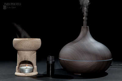 Aromatherapy. Traditional and modern oil burner and aroma diffuser working with essential oil bottle.