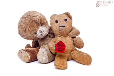 Vintage teddy bears in love. Romantic old couple on Valentines day