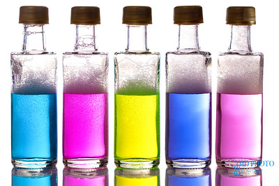 Colorful chemical ingredients in bottles