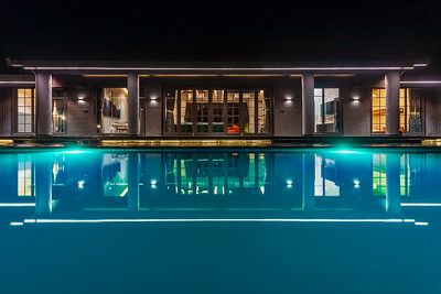 Pool side at night.