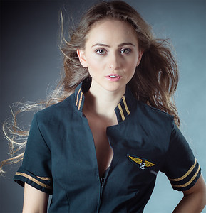 Model in Stewardess Flight Uniform Outfit