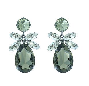 Daisy Earrrings / Black Diamond + Silver Shade (Black Rhodium)