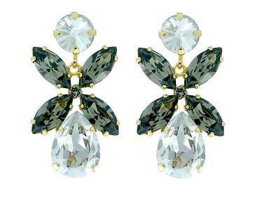 Dione Earrings / Silver Shade + Black Diamond