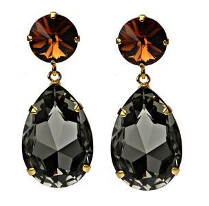 Perfect Drop Earrings / Smoked Topaz + Black Diamond