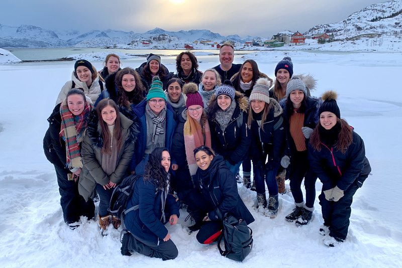 Eighteen Adelphi students traveled above the Arctic Circle in Norway over spring break to explore the connections between culture, school, and the natural environment, led by College of Education and Health Sciences professor Rob Linne and Mary Jean McCarthy