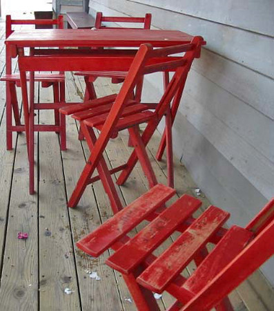 I found these red chairs on the porch of an ice cream shop in Indiana's Amish country.