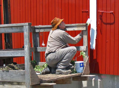 Painting the barn in Amish country, Indiana.