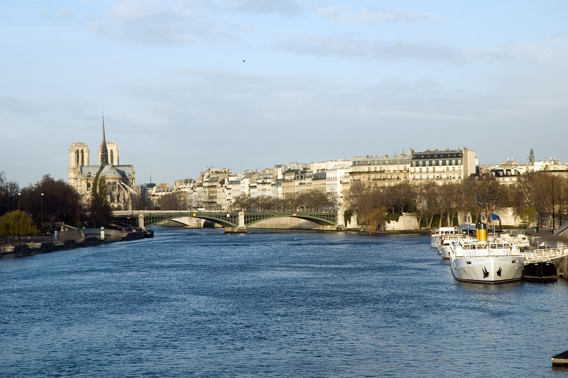 Notre Dame de Paris et la seine prises depuis le pont d'Austerlitz