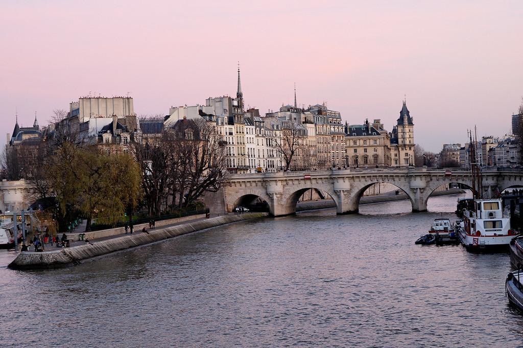 Vues de la seine prise depuis le pont des arts.