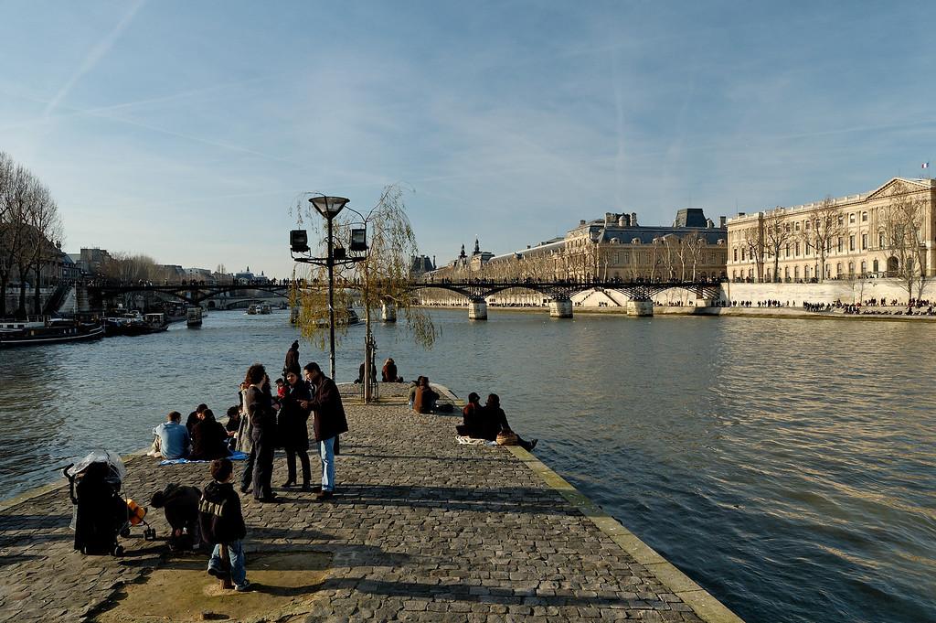 """Vue sur la seine et le pont des arts depuis le pré du """"vert galant"""""""
