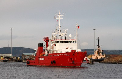 Fugro Commander arrives - pleased to see something actually moving!