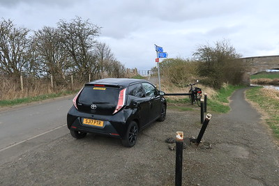 This idiot has disobeyed the clear instruction not to drive anywhere for their daily walk. Union Canal near Broxburn.