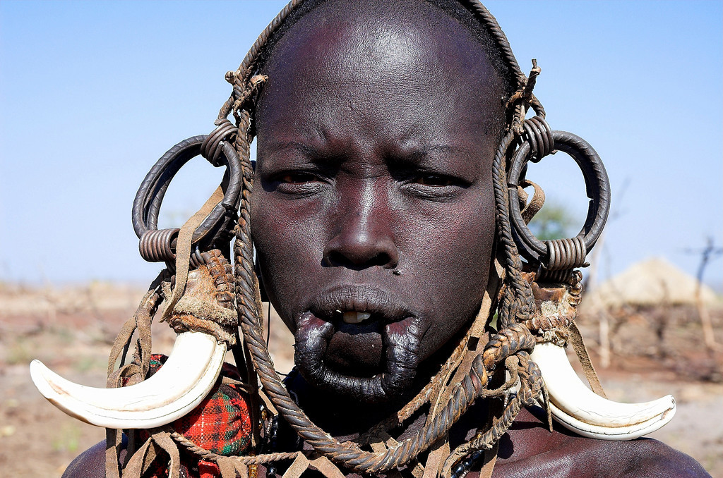 Mursi woman without the traditional lip plate, Omo Valley.