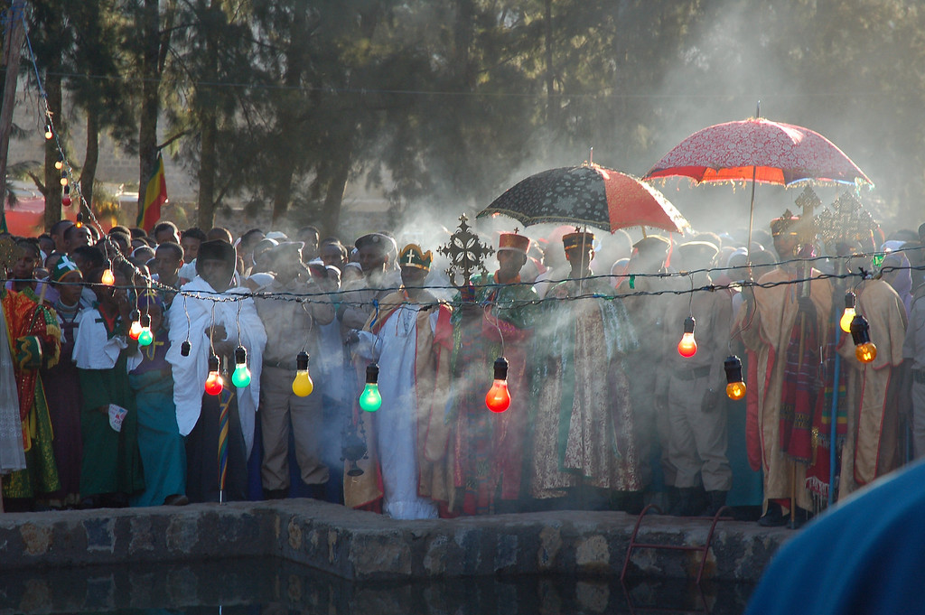 Timkat, Gonder, the biggest religious celebration in the Ethiopian orthodox church calendar, when the arc is taken from the church to be blessed