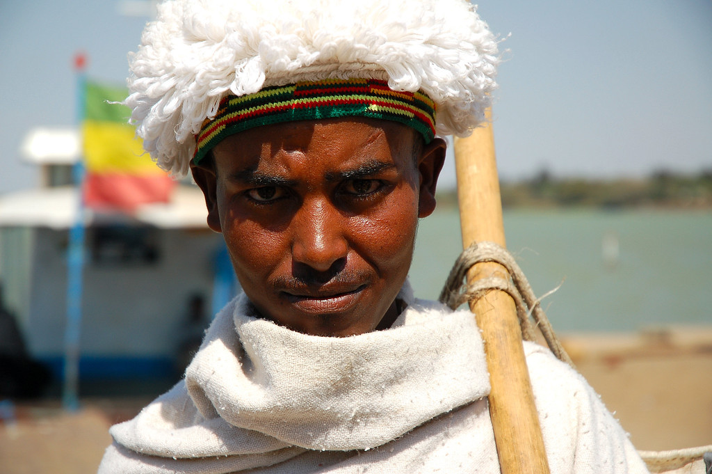 Boat passenger, Lake Tana, Bahir Dar