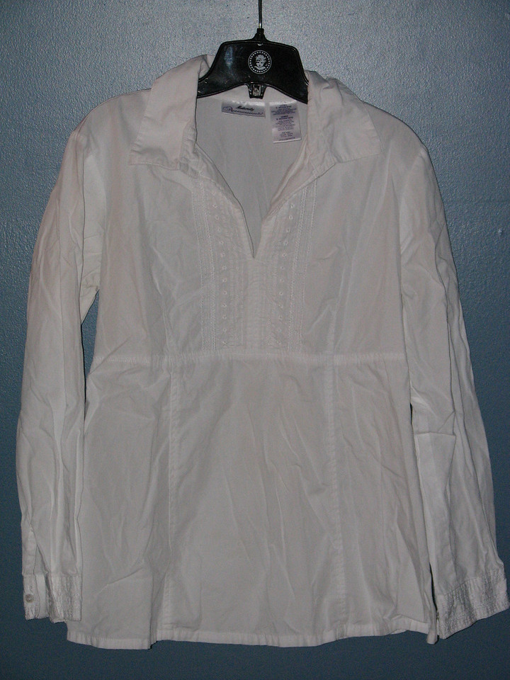White 3/4 length blouse $10