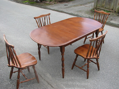 4 chairs, table w/ insert, excellent condition.