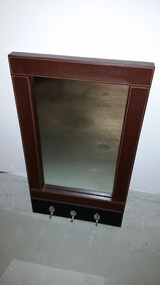 mirror, leather frame, hooks