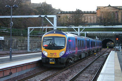 185134 arrives at Waverley on driver training prior to the start of the Trans Pennine services to Manchester 23 Nov 2007
