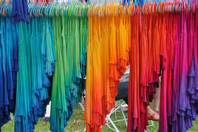 Rainbow dresses at Bangalow Market