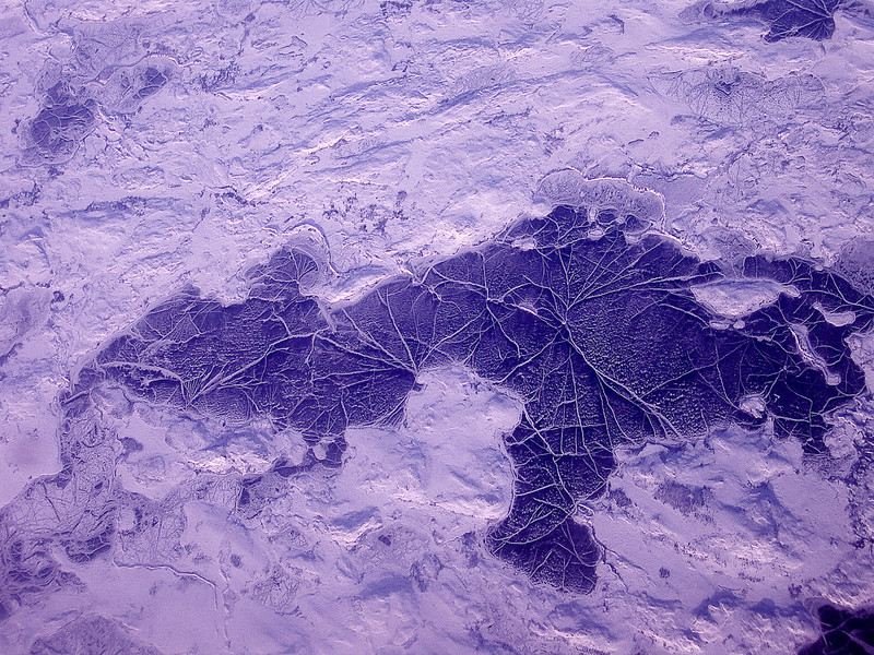 Weird ice landscape <br /> Freaky purple landscape (well, it looked purple from way up there)