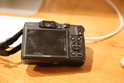 My G16 looking the worse for wear.   £120 to fix it including fixing an exposure issue - 'it had been bumped' said the man.