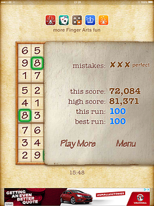 So I managed 100 top level Sudoku in a row without bursting one - but a sweaty moment as I was on three errors and that's all you are allowed!