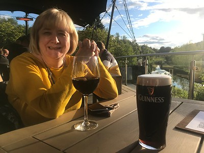 The Boss, a red wine and a Guinness at The Bridge Inn, Ratho. First pint since October and all the better for being unplanned!