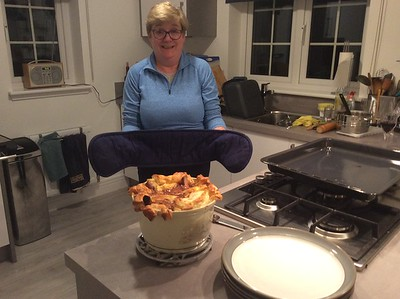 Fay with Jamie Oliver recipe Lamb Shank Pie with meat by Bowers Butchers Stockbridge