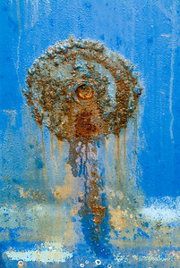 Rust Circle: on the hull of a trawler in Westport, Washington.