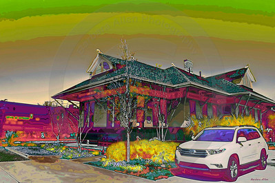 At home beside the Ocean Springs depot, a landmark on the MS Gulf Coast.  Now an art gallery, stop in, you might see some of my work!  A passing train even takes notice of the beautiful Highlander.  Plenty of room and luxury.  I love what you do for me!!  When you think Toyota, think Allen toyota.