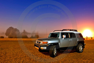 "For a rugged feel and look but ease of driving, the FJ Cruiser is it.  Toyota, I love what you do for me!!  When you think Toyota, think Allen Toyota.  This image was taken at 9:30 at night under a full moon.  The ""sun"" is a street light.  I was in Woolmarket, (Biloxi) Mississippi on my country getaway property."
