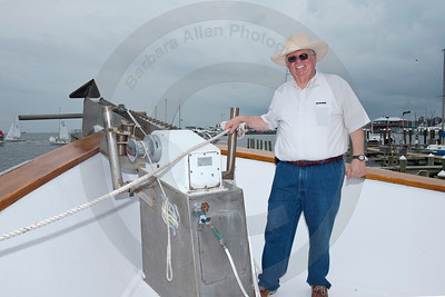 Lenny Sawyer at the bow of his fabulous yacht, the Ethel Annie.