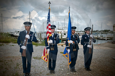 Color guard just after retiring the colors and I persuaded them to line up again for a picture.