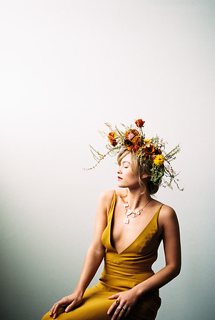 Leanne Marshall unconventional wedding gown - artistic floral crown by Sara Winward - Kristen Krehbiel - Kristen Kay Photography - Las Vegas Wedding Photographer