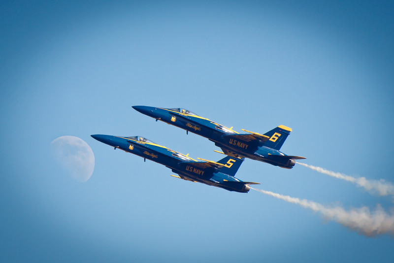 Blue Angels and the Moon
