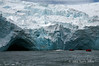 Point-Wild-glacier-and-zodiacs,-Elephant-Island,-South-Shetland-Islands