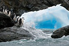 Blue-ice-and-chinstrap-penguins,-Monroe-Island,-South-Orkney-Islands