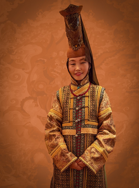Greeter in traditional costume