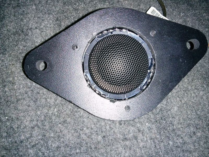 "Aftermarket tweeter secured to tweeter adapter bracket  from  <a href=""http://www.car-speaker-adapters.com/items.php?id=SAK009""> Car-Speaker-Adapters.com</a>"