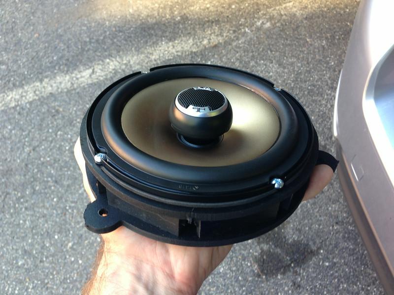 "Aftermarket speaker mounted to speaker adapter rings  from  <a href=""http://www.car-speaker-adapters.com/items.php?id=SAK032""> Car-Speaker-Adapters.com</a>"