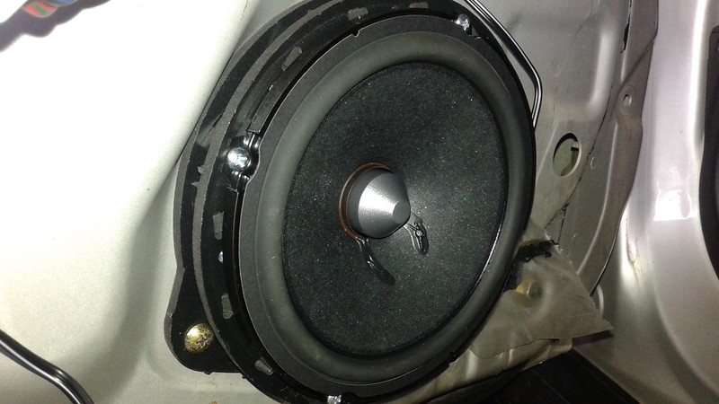 """Aftermarket speaker and speaker adapter from <a href=""""http://car-speaker-adapters.com/items.php?id=SAK026""""> Car-Speaker-Adapters.com</a>   installed on door"""
