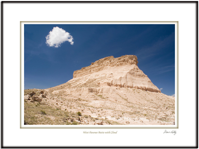 West pawnee butte with cloud