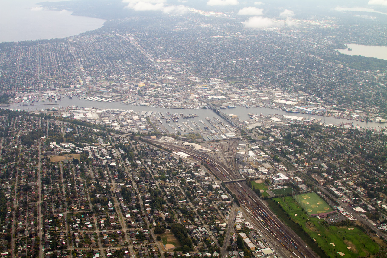 Aerial view of Ballard and locks in Seattle - USA - Washington