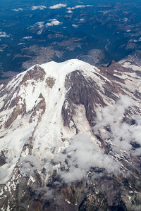 An aerial view of Mount Rainier National Park as seen from a commercial airline flight - Washington - USA
