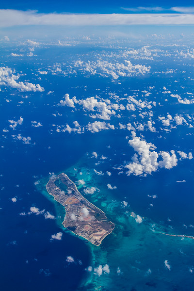 Aerial view of Caribbean islands with turquoise waters